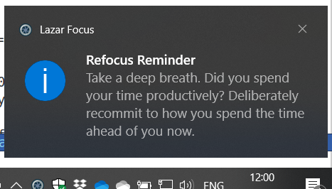 The Lazar Focus Refocus Reminder notification. Meditation bell sound not shown. :)